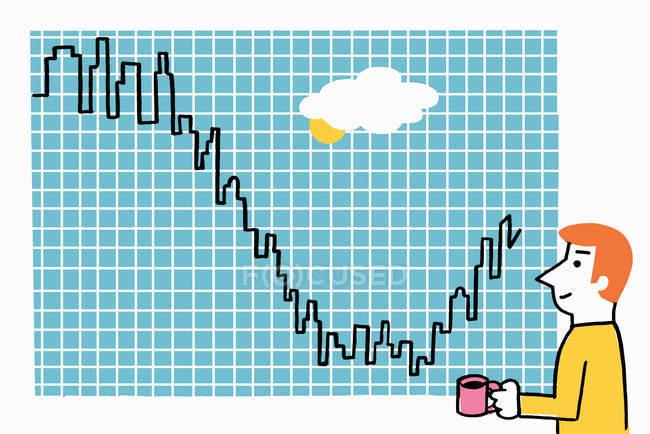 Homem olhando para gráfico de linha em forma de casas fazendo uma reviravolta — Fotografia de Stock