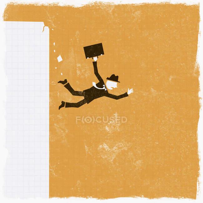 Empresário caindo de penhasco — Fotografia de Stock