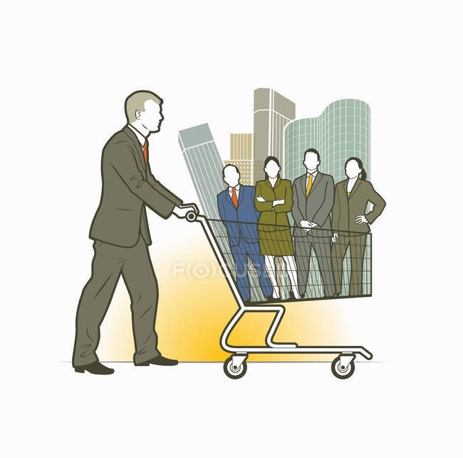 Businessman pushing shopping cart with business people and office blocks — Stock Photo