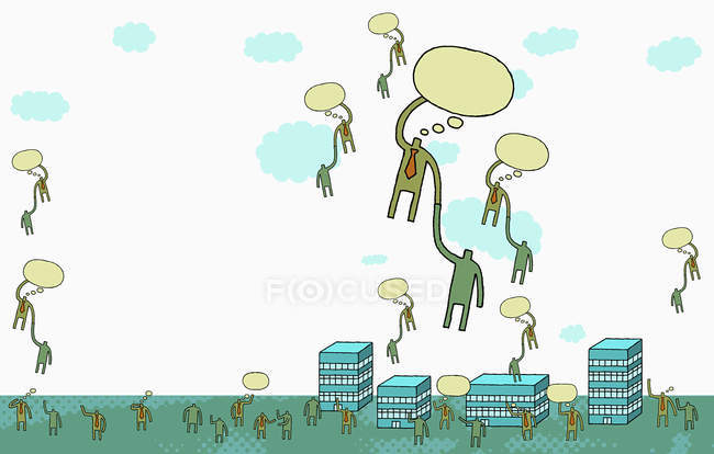 Business people floating on thought bubbles — Stock Photo