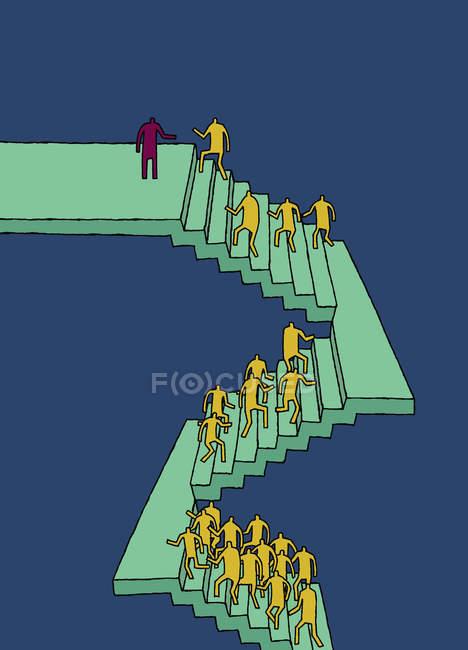 Trabajadores subiendo escaleras sobre fondo azul - foto de stock