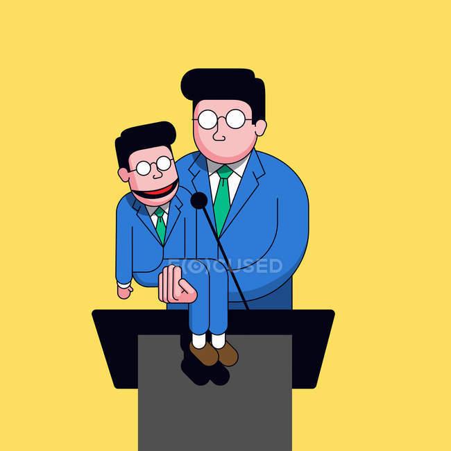 Político usando o manequim de ventríloquo semelhante para fazer discurso — Fotografia de Stock