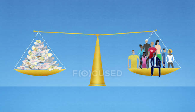 Group of people and money balanced in weighing scale — Stock Photo
