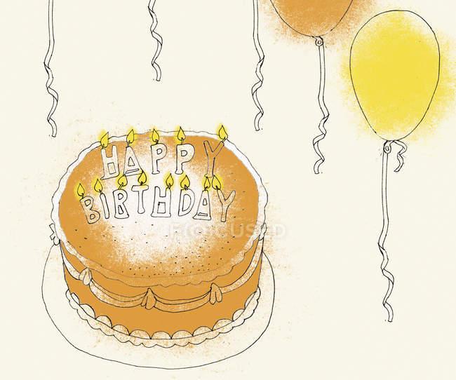 Birthday cake and balloons — Stock Photo