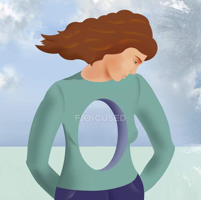 Сумна жінка з отвором в тілі — стокове фото