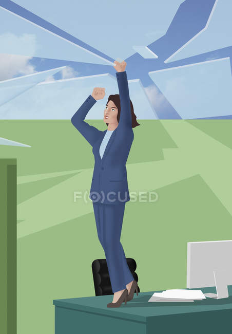 Businesswoman standing on desk and breaking up glass roof — Stock Photo
