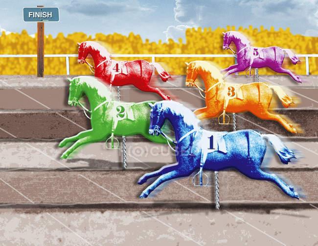 Bunte Pferde überqueren Ziellinie — Stockfoto