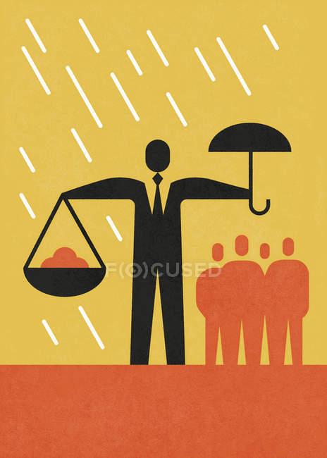 Empresario sosteniendo paraguas en una mano y escamas en la otra - foto de stock