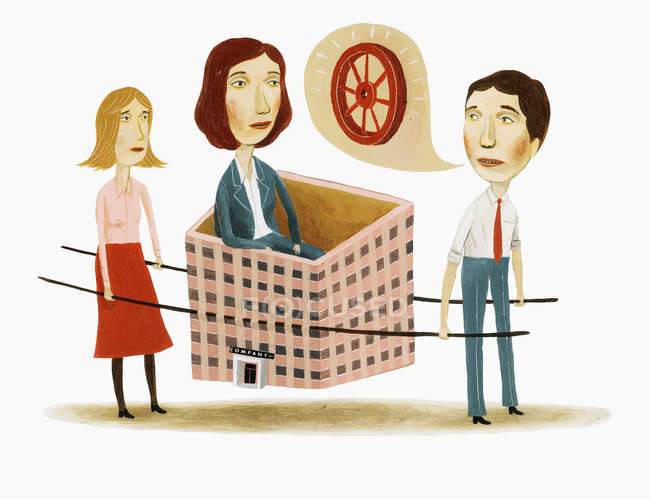 Business people carrying woman in highrise building — Stock Photo