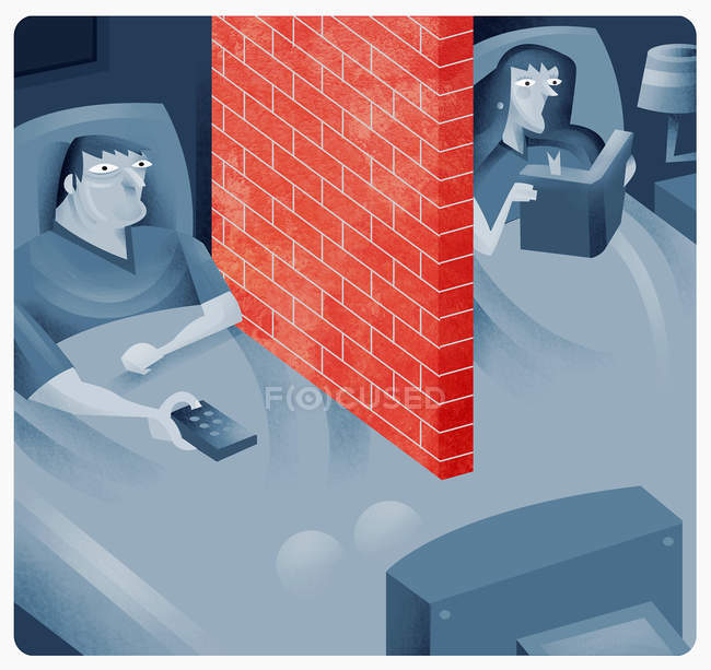 Couple in bed with brick wall between them — Stock Photo