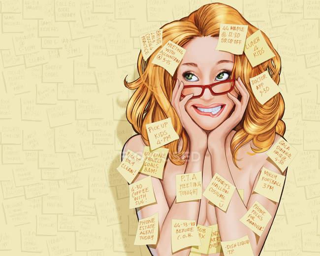 Mulher coberta com notas adesivas do lembrete — Fotografia de Stock
