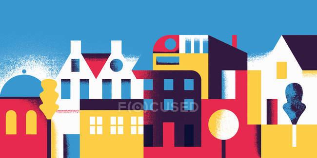 Fila de edificios sobre fondo azul - foto de stock