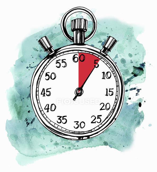 Стоп-часы на сине-белом фоне — стоковое фото