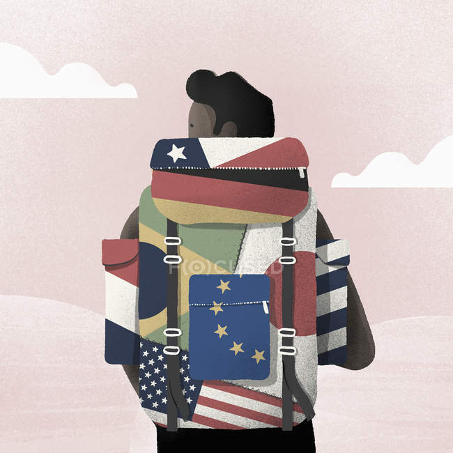 Young man wearing backpack with many different flags — Stock Photo