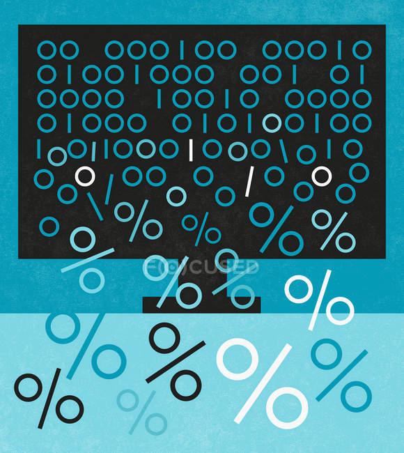 Бинарный код, выпадающий с экрана компьютера и превращающийся в процентные знаки — стоковое фото