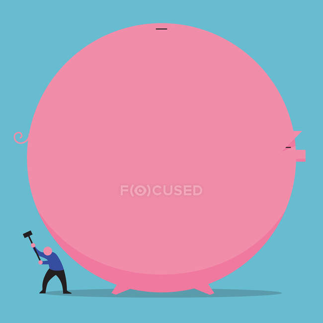 Man destroying huge piggy bank — Stock Photo