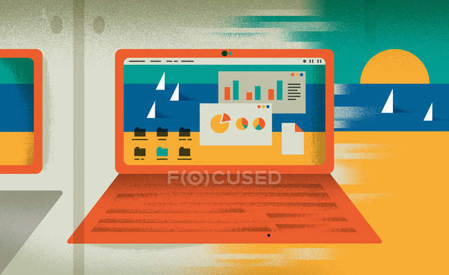 Contrast of diagrams on laptop monitor and beach with sea — Stock Photo