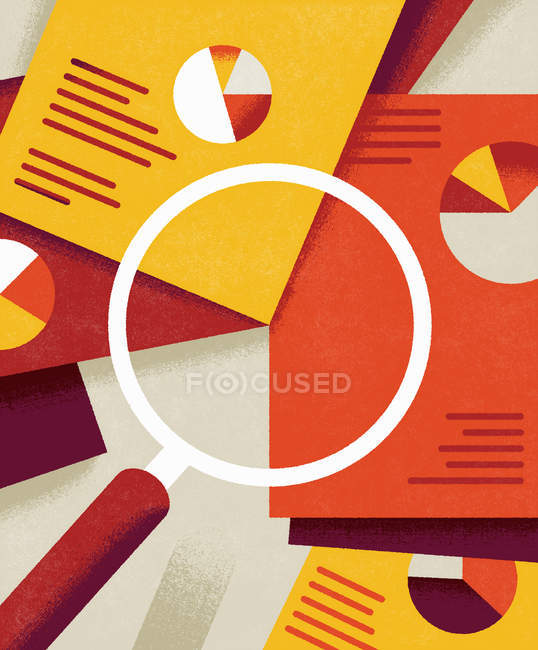 Pie charts on documents under magnifying glass — Stock Photo