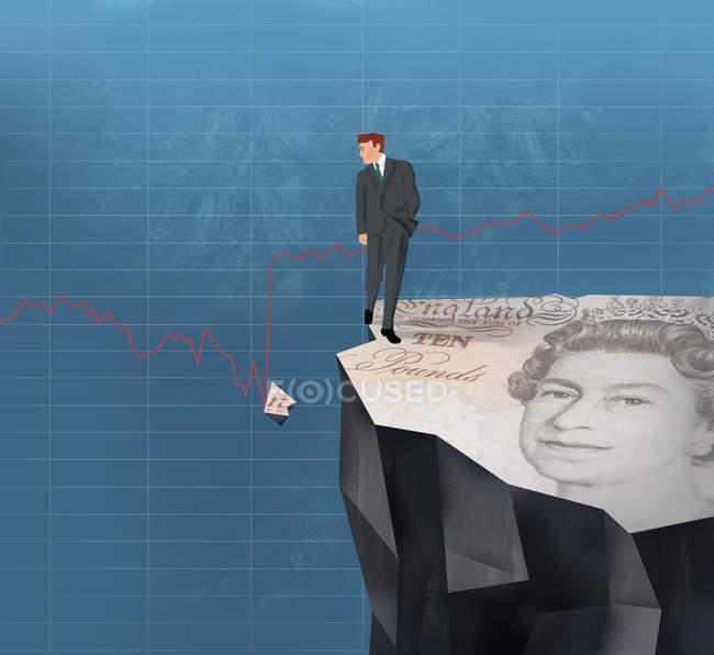 Hombre de negocios en el acantilado mirando pedazo roto de dólar de libra en el gráfico de línea - foto de stock
