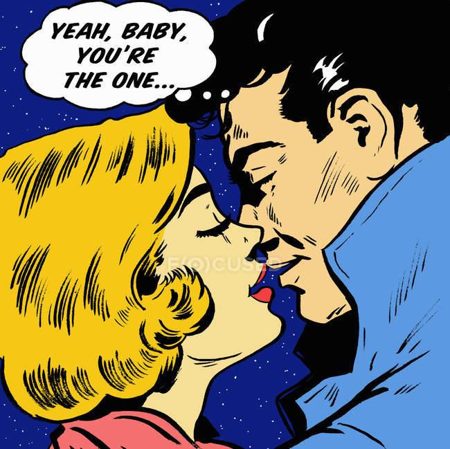 Hombre besando novia y tranquiliándose a sí mismo en burbuja de pensamiento - foto de stock