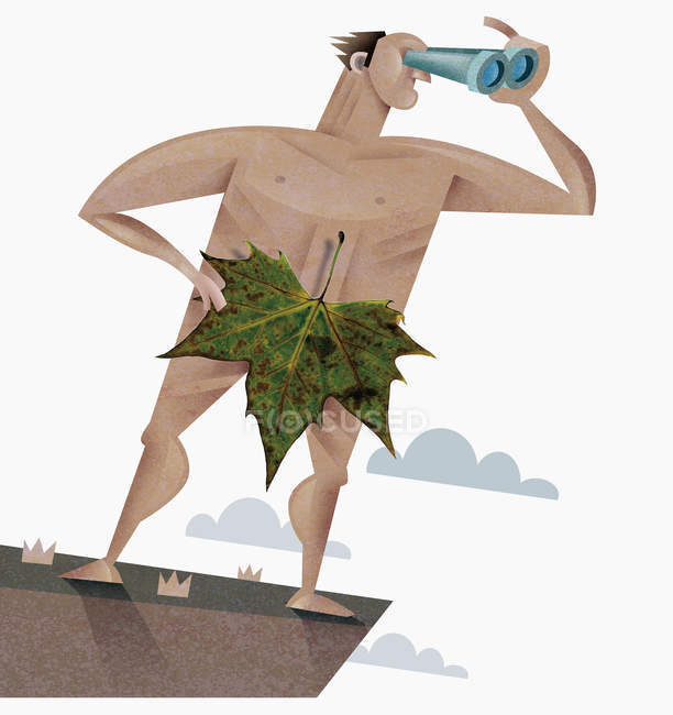 Nude man with leaf using binoculars — Stock Photo