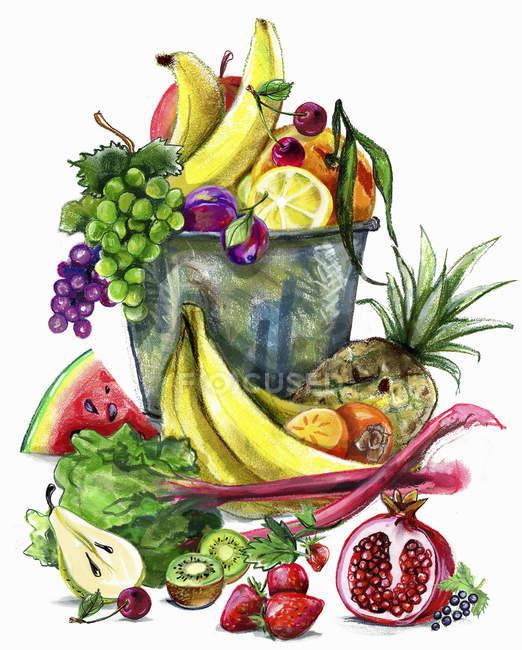 Варіації свіжих фруктів на білому фоні — стокове фото