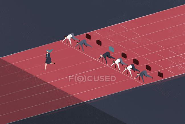 Geschäftsfrau läuft auf Rennstrecke vor Geschäftsleuten in Startposition — Stockfoto