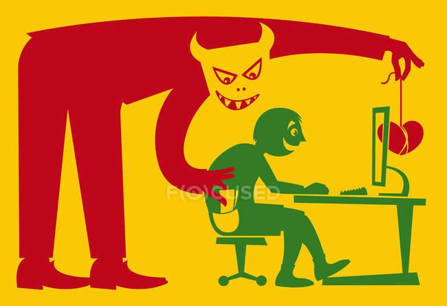 Carterista atraer al hombre en el ordenador con el corazón - foto de stock