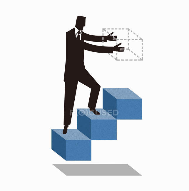 Businessman walking on stairs and building next step — Stock Photo