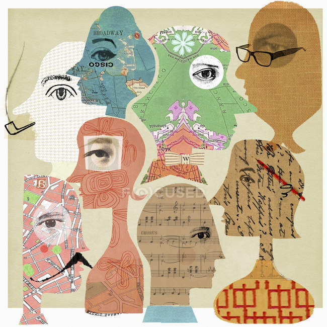 Collage of faces with patterns inside heads — Stock Photo