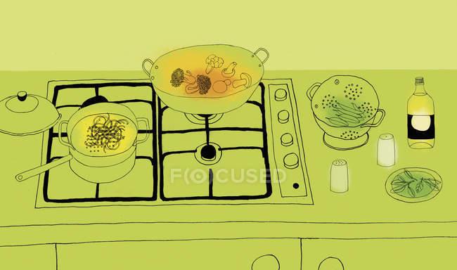 Підготовка їжі на газова плита — стокове фото