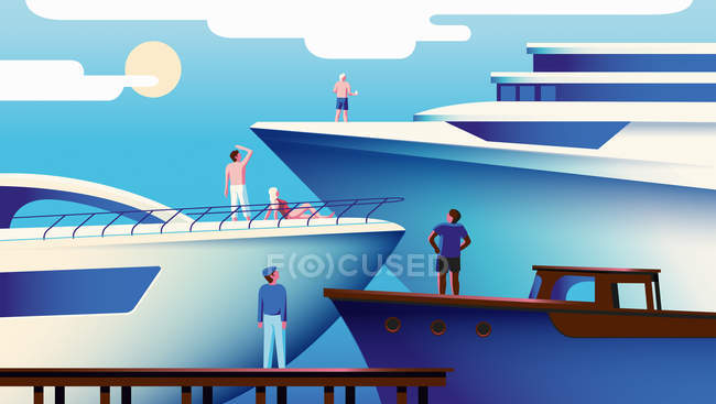 Hierarchy of people envying larger yachts — Stock Photo