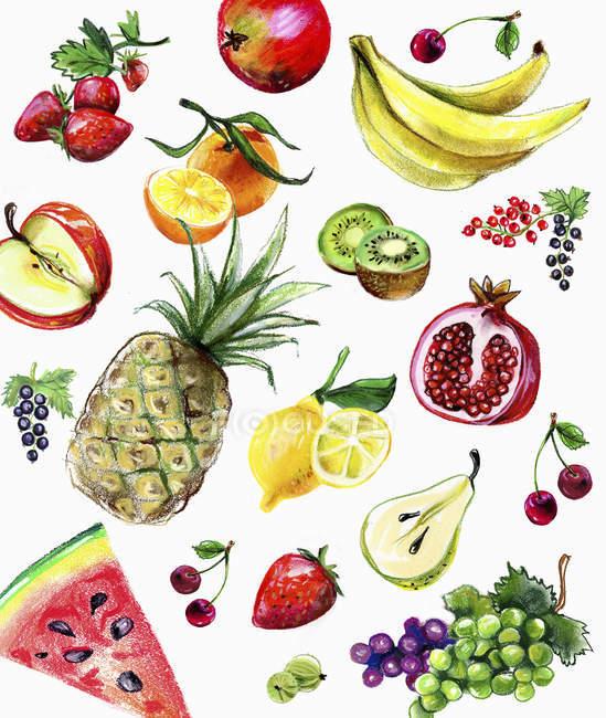 Variation of fresh fruits on white background — Stock Photo