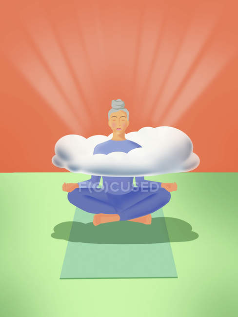 Woman levitating practicing yoga with head in clouds — Stock Photo