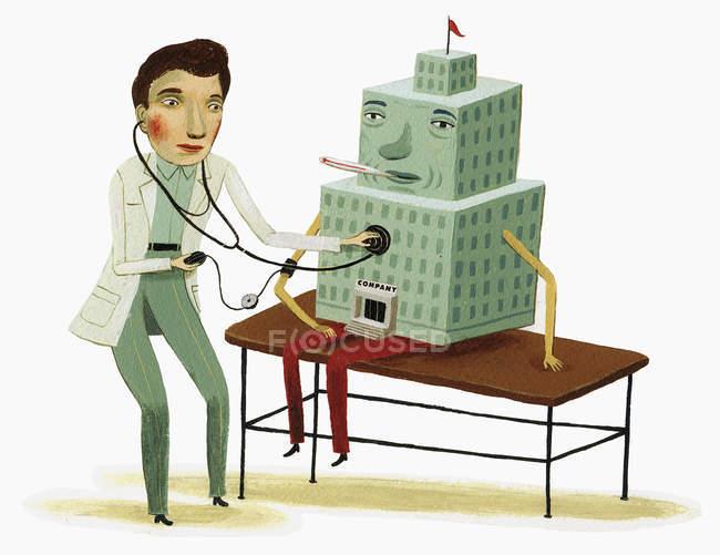 Médecin examinant bâtiment malade avec stéthoscope — Photo de stock