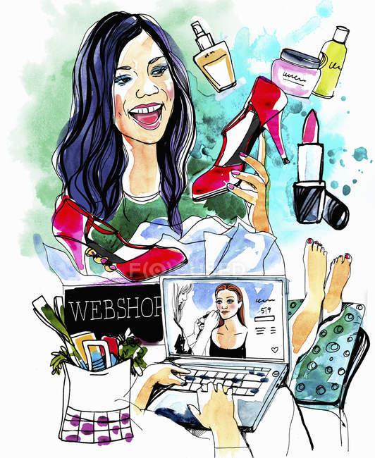 Colagem de mulher compras on-line — Fotografia de Stock