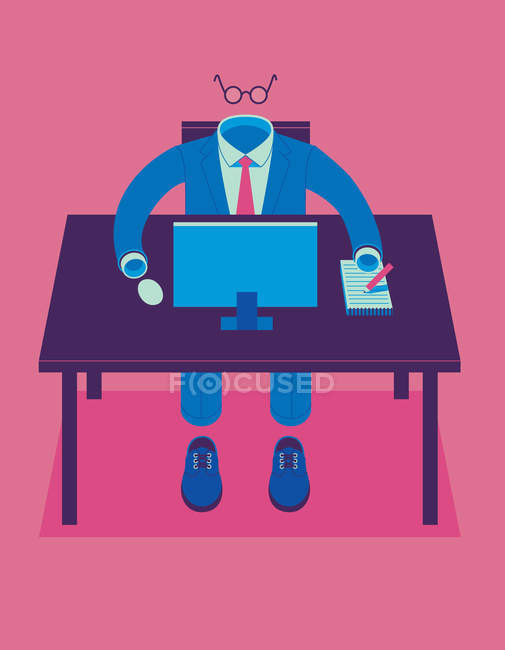Empty business suit working at desk — Stock Photo