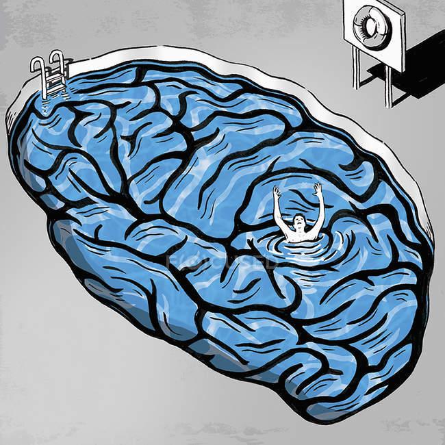 Man drowning in brain pool — Stock Photo