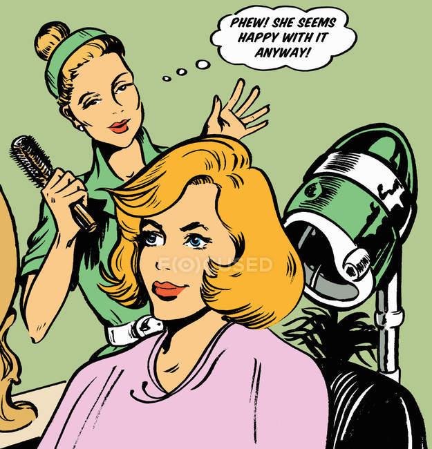 Cabeleireiro expressando alívio no cabelo do cliente — Fotografia de Stock