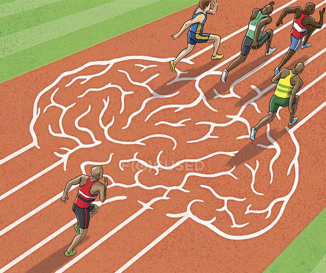 Atletas corriendo en pista cerebral — Stock Photo