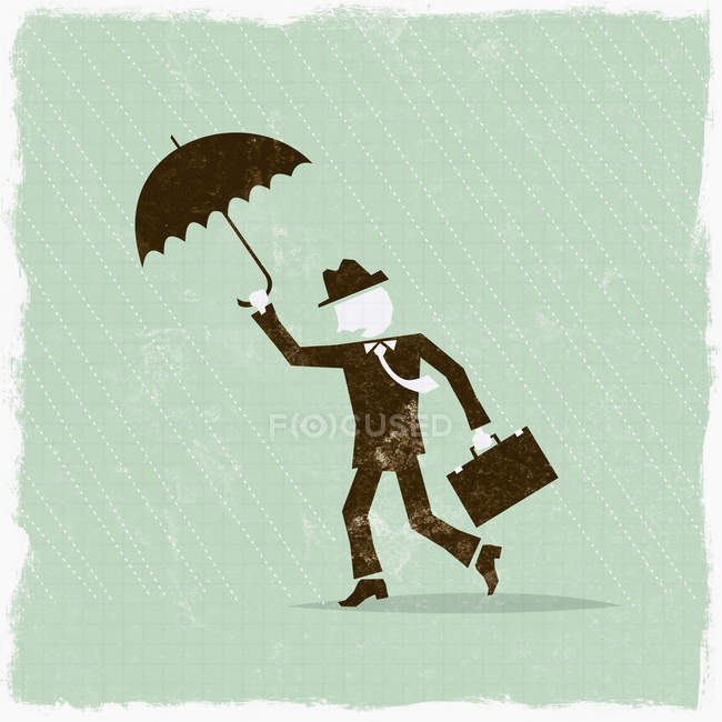 Businessman with umbrella weathering the storm — Stock Photo