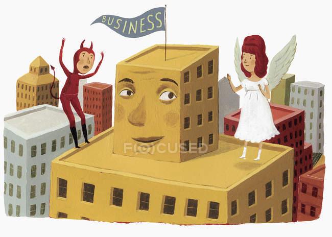 Ангел і диявол на високе зростання будівництво з бізнес прапор — стокове фото