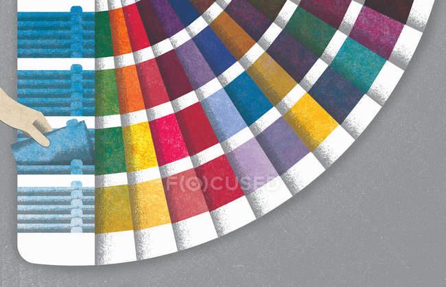 Choix à la main d'un échantillon de couleur ventilé — Photo de stock