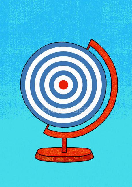 Глобус в яблочко с красной целью на бирюзовом фоне — стоковое фото