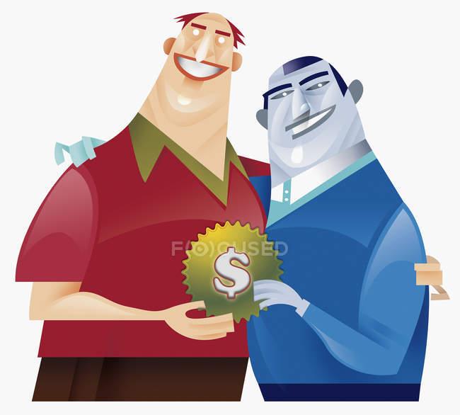 Dois homens que prendem a engrenagem com decoração do sinal de dólar — Fotografia de Stock