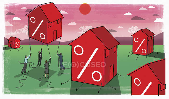 Business people trying to hold rising house with percent symbols — Stock Photo