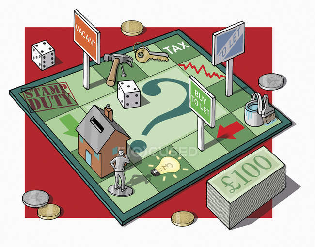 Man on money and real estate game board — Stock Photo