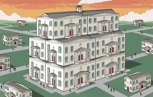 Casa grande que se destaca do bairro — Fotografia de Stock