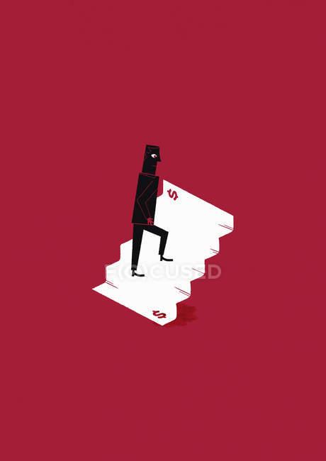 Человек, идущий вверх по долларовой лестнице — стоковое фото