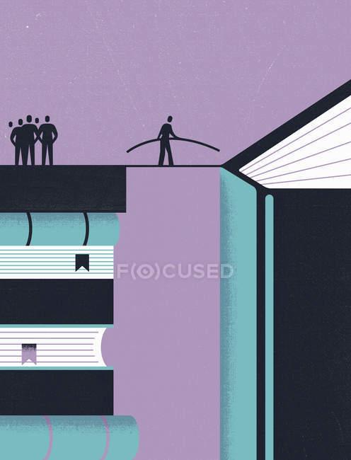Drahtseilwanderer überbrückt die Lücke zwischen Bücherstapel und neuem Buch — Stockfoto
